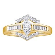 14k Yellow Gold Marquise Diamond Bridal Wedding Engagement Anniversary Ring 3/4 - $1,476.83