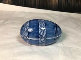 Vintage Estate Fitz and Floyd Porcelain Blue and White Egg Shaped Trinket Box - $18.76