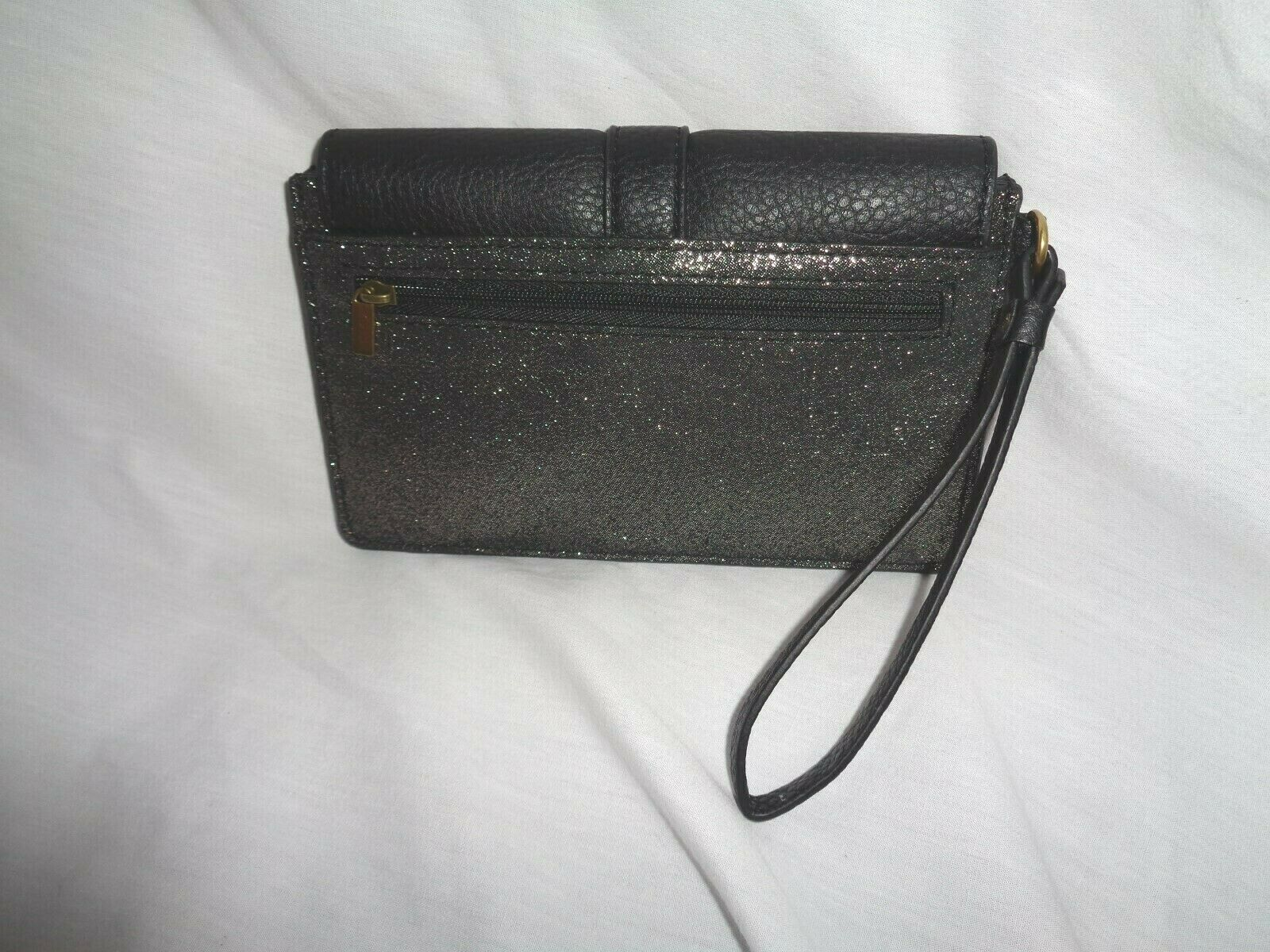 FOSSIL SOFIA PHONE CARD CASE WALLET WRISTLET CLUTCH PEWTER LEATHER SWL3045044