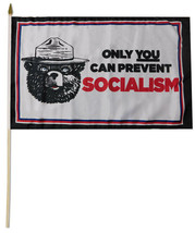 "Only You Can Prevent Socialism MAGA Bear White 100D 12""x18"" Stick Flag 3... - $4.88"