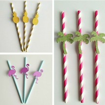 Set of 25 Glitter Flamingo/ Pineapple/ Palm Tree Luau/ Beach Party Straws - €8,94 EUR