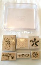 Set Of 6 Stampin Up DELIGHT IN LIFE Wood Mounted Stamps 2007 + Case image 3