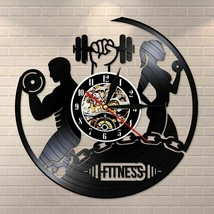 Fitness Vinyl Record Clock Sport Body Health Handmade Sports GYM Wall Ar... - $38.53+