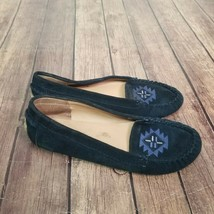 Lucky Brand Loafers Ailee2 Womens Size 9M Blue Suede Leather Aztec Flat ... - $20.84