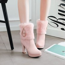 83B007 elegant buckles & pearl chain snow booties US Size 4-8.5, pink - $1.201,75 MXN