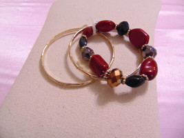 "Style & Co 6.5"" Gold Tone Bead/Stone Bangle Stretch Bracelet Set M739 - $11.51"