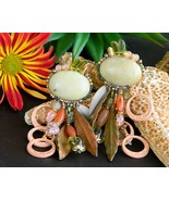 Vintage Chipita Clip Earrings Beaded Leaves Signed Dangle Joan Eagle - $72.95