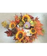"""23"""" Fall Thanksgiving Wreath with Turkey Orange Sunflower & Orange Pumpkins - $48.62"""