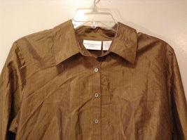 Worthington Women's Petite Size 10 10P Shirt Silk Button Down Top Brown Striped image 3