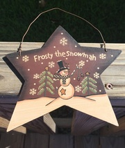 Primitive Wood 4939 Frosy the Snowman Star Christmas Ornament  - $2.95