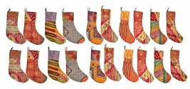 Indian Handmade Recycle Assorted Cotton Kantha Christmas Stockings (5 Pcs.) - $39.19