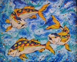 "Akimova: PLAYING FISH, animal, sea, wax painting, 20""x16"" - $27.00"