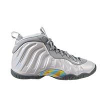 Nike Little Posite One Big Kid's Shoes Light Smoke Grey-Blue Fury CU1054-001 - $180.00