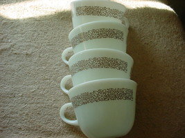 PYREX WOODLAND BROWN MILK GLASS COFFEE CUPS x 4 GENTLY USED FREE USA SHI... - $18.69