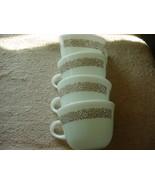 PYREX WOODLAND BROWN MILK GLASS COFFEE CUPS x 4 GENTLY USED FREE USA SHI... - $18.69