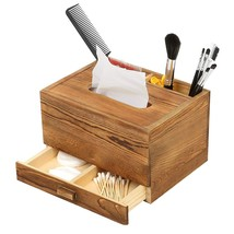 Rectangular Wooden Tissue Box Cover Holder and Vanity Makeup Organizer w... - $23.57