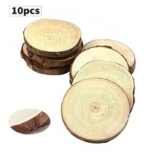 """Fuhaieec 10pcs 3.5""""-4"""" Unfinished Natural Wood Slices Circles with Tree ... - $9.46"""
