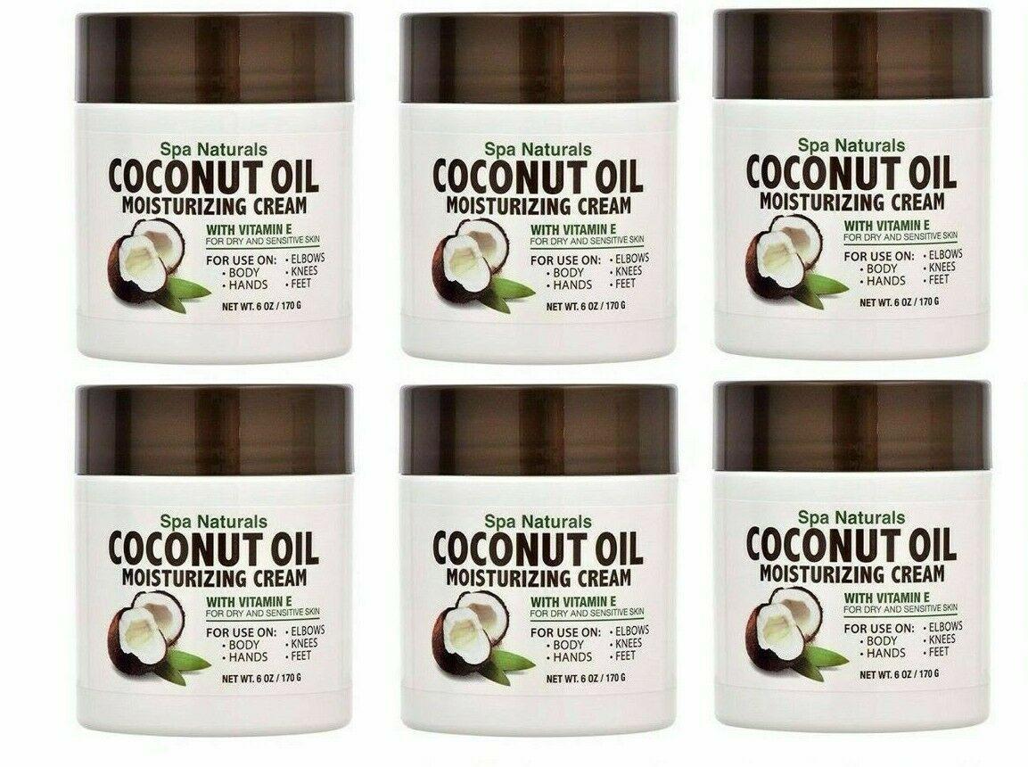 6 Pack Spa Naturals Coconut Oil Moisturizing Body Cream with Vitamin E 6 oz Ea - $22.52