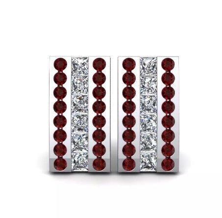 925 Sterling Silver Genuine Garnet And Cz Gemstone Artistic Design Handcrafted M image 2