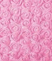 Hot Pink Minky Rose Swirl Fabric - by the Yard - $13.70
