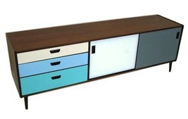 CUSTOM COLORS MID CENTURY MODERN CREDENZA, MEDIA CONSOLE OR STORAGE CAB... - $1,532.22