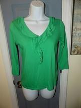 Talbots Green Long Sleeves V Neck Ruffle Causal Shirt Size XS Women's - $19.50