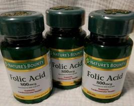 3x Nature's Bounty Folic Acid 800 mcg Tablets Maximum Strength 250 Each (750) - $20.87