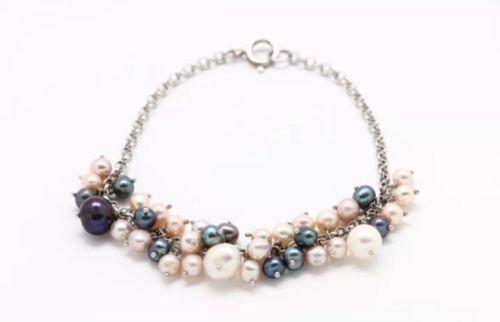 .925 Sterling Silver Pearl Rolo Link Chain Bracelet (10.7 g)
