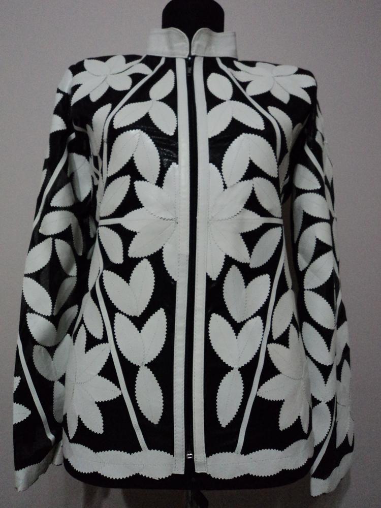 White leather leaf jacket for women design03 xl 1