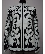 White Leather Leaf Jacket Women All Colours Sizes Genuine Lambskin Zip S... - $150.00