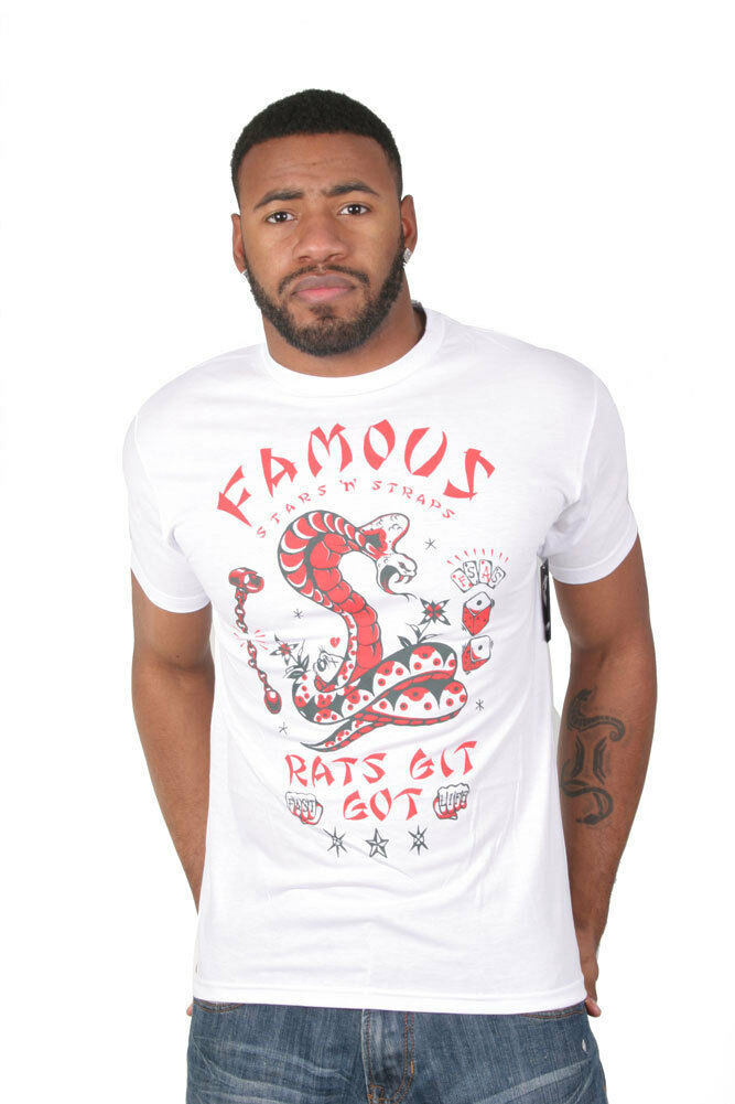 Famous Stars and Straps Rats Git Got White Fitted Premium Tee T-Shirt