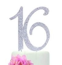 "Number""16"" Sweet 16 Birthday Cake Topper - Monogram Rhinestone Silhouette w/Crys - $12.49"