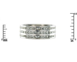 Channel Set 3 Row Clear AAA Cubic Zirconia Band Ring-Rhodium Plated - $24.99