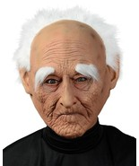 Creepy Old Man Mask Adult White Hair Age Spots Wrinkles Long Eyebrows MR... - $33.99