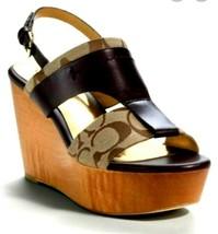 Coach Campbell Khaki Chestnut Signature Wedge Wood Platform Shoes Sz 8.5NIB! - $129.99