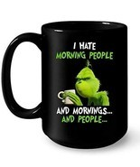 I Hate Morning People And Mornings And People Coffee Mug 11oz Ceramic Black - $300,16 MXN