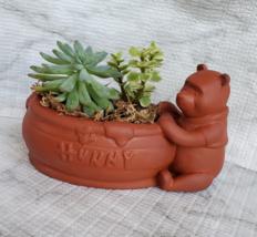 Winnie the Pooh Planter with Succulent Arrangement, Redware Animal Plant Pot image 1