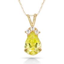 3.70 CT Peridot Pear Shape 4 Stone Gemstone Pendant & Necklace 14K Y Gold - $153.45