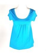 Mascara Women Size Small Blue Short Sleeve Elastic Bottom Blouse NWT - $5.89
