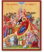 """Nativity of Christ Icon - 8"""" x 10"""" Wooden Plaque With Lumina Gold - $51.95"""