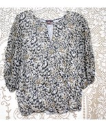 Vince Camuto XS Animal Print  3/4 Elasticated Sleeve Blouson Top Blouse - $11.72