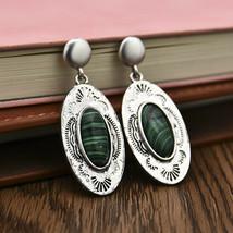 Vintage 925 Silver Green Glass Wedding Handmade Dangle Earrings Eardrop ... - $1.90