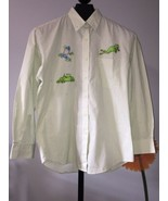 Womens Top Size M Las Olas  Appliqued Frogs Green Pin Striped Cotton Ble... - $15.79