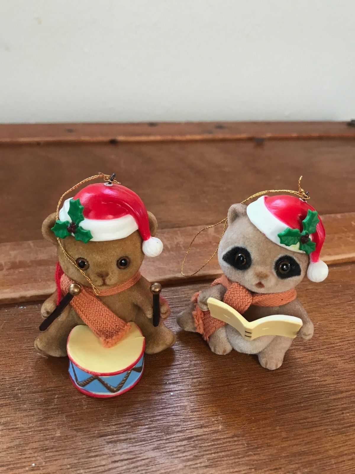 Vintage Lot of 2 Flocked Singing Raccoon & Drum Playing Bear Christmas Tree Orna