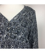 Chelsea Theodore Tunic Top S Floral 3/4 Sleeve V Neck Black Womens Small - $16.39