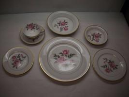 VINTAGE Noritake CHINA 7 Piece PLACE SETTING Lindrose PATTERN Pink FLORA... - $76.17