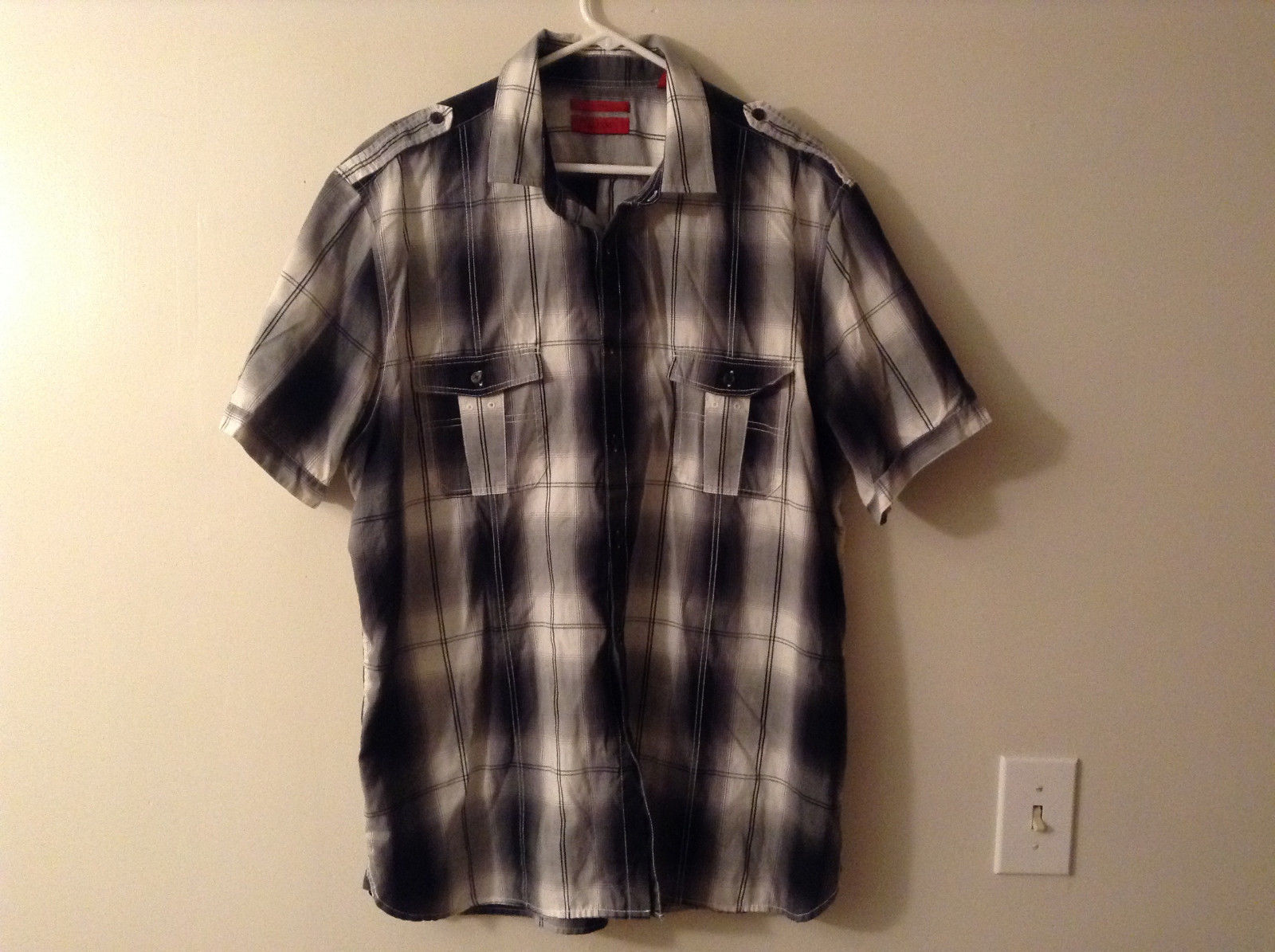 Alfani Men's Size 2XL XXL Button Down Shirt Short Sleeves Black & White Plaid