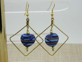 Vintage Blue Swirl Heart Art Glass Geometric Dangle Earrings - $19.80