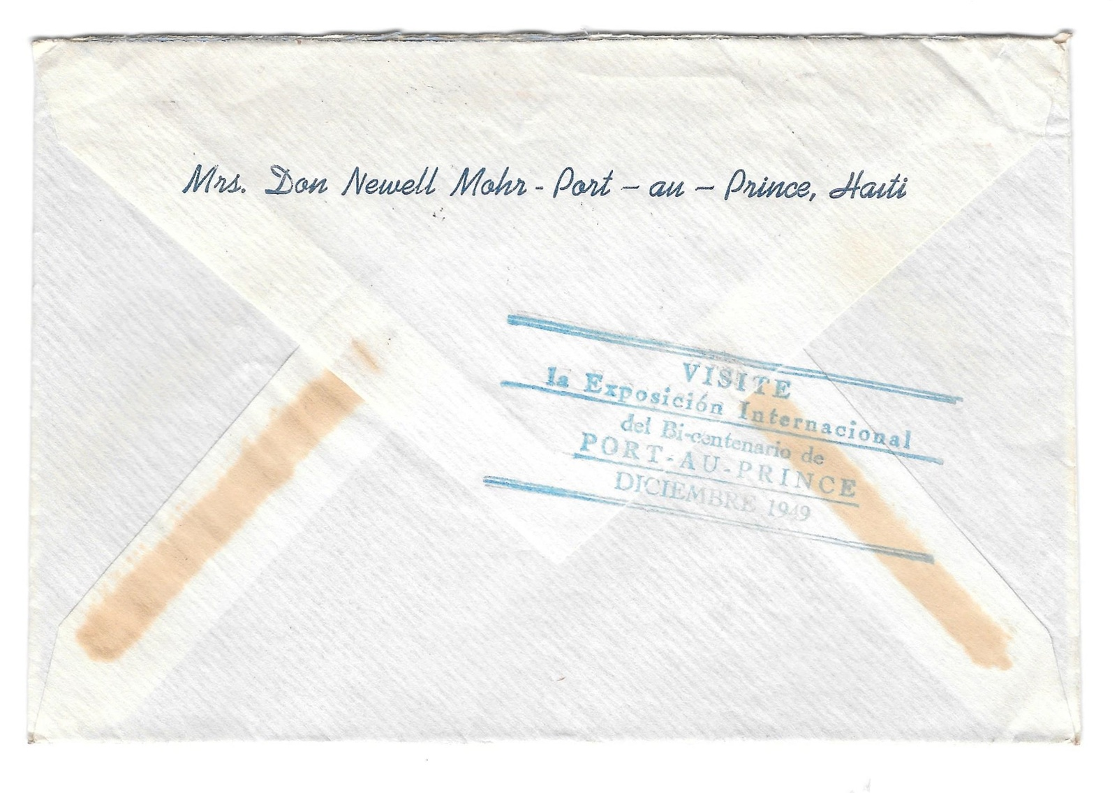 Haiti Airmail Cover 1949 Port au Prince to US Exposition backstamp RA10 372 360