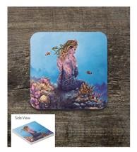 Blonde Mermaid on the Reef Square Sandstone Table Coaster - $6.00